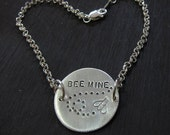 Personalized silver bracelet sterling silver, bumble bee bracelet, custom bracelet, E0416