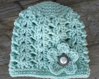 Baby girl crochet hat, in mint with pearl button , size 0 to 3 months
