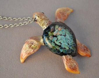 Ocean Sunset Sea Turtle pendant