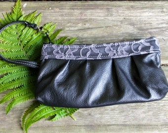 Black leather wristlet - womens leather clutch - Black leather with Grey lace Accents -ladies smartphone wallet- womens iphone wristlet