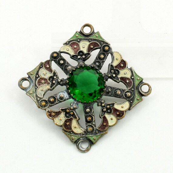 Antique Edwardian Enameled Panel Link Connector with Emerald Green Glass Stone
