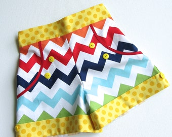 Shorts Somewhere Over the Rainbow. Rainbow Chevron, Multi Colored Chevron Available sizes: 2T  - 7- Handcrafted by Valeriya