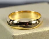 18K Yellow Gold Mens Wedding Band, Half Round Classic Shape 5 x 1.5mm, Sea Babe Jewelry