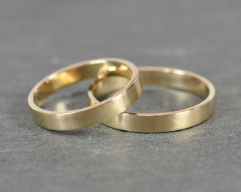 Matte Gold Ring Set, Two 3x1mm Flat Edge solid 14K Yellow Gold Bands, Sea Babe Jewelry