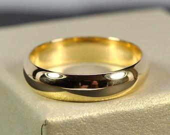 Yellow Gold Mens Wedding Band, 18K Half Round Classic Shape 5 x 1.5mm, Sea Babe Jewelry
