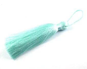 1pc- Silk Thread Mint Green Tassel-Findings- 140x60mm (301-003)