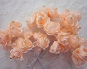 36pc Chic PEACH Satin Ribbon Wired Cabbage Rose Flower w Pearl Applique Bridal Wedding Favor Bow