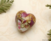 Cranberry Treasure Heart Focal Bead - Handmade Glass Lampwork Bead 11818405