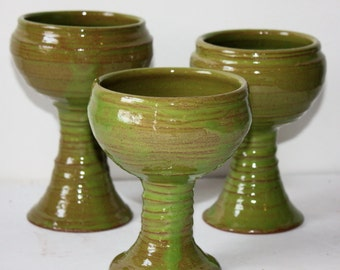 Wine Glass Goblet Trio in Spring Green Stoneware Kitchen and Dining