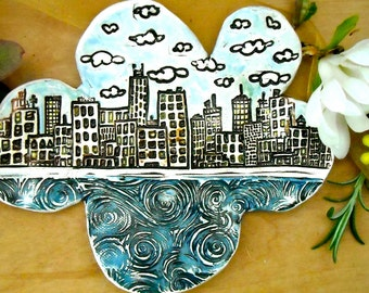 City & Sea on a Cloud Ring, Jewelry Dish - HandMade Rustic Stamped Buildings, Water Spoon Rest, Trinket Holder - Turquoise, Gold Carved Tray