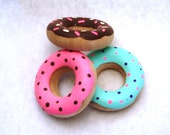 wooden toy 3 donuts play food handmade