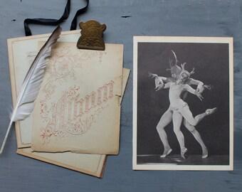 Vintage Ballerina Print, Book Plate, Vintage Ballet Print, Dance Photograph, Ballet, Seventh Symphony, Devils Horns Antlers