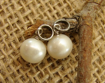 Add a Pearl Drop - White - Oxidized Sterling Silver - Design Your Own Hoop Series