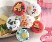 Fabric Cover Buttons, Shabby Green Blue Yellow White Floral Flower Fabric Buttons,  Small Floral Fridge Magnets, Flat Backs, 1 Inch 6's