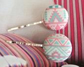 Fabric Button Bobby Pin, Pink Aqua Green Aztec Tribal Ethnic Chevron Hair Barrette Bobby Pin , Retro Hair Pin