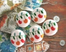 Handmade Small Retro Red Yellow Green Spring Birds Fabric Covered Buttons, Small Birds Fridge Magnets, 1 Inch 5's