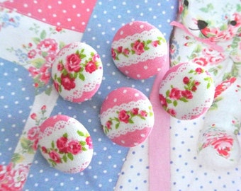 Handmade Shabby Red Pink White Lace Flower Floral Fabric Covered Button, Flat Back Button, 0.8 Inches 5's