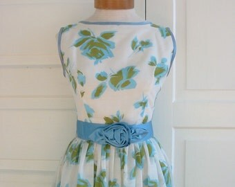 Vintage Woman Dress Floral Blue Spring Summer Prom Tea Length