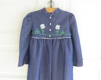 Vintage Girl Dress, Girl Jacket Coat, Child Clothes, Blue Dress, Blue Jacket, Size 6 Dress