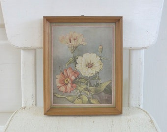 Vintage Floral Framed Print Shabby Cottage Chic Flowers Pink Zinnias