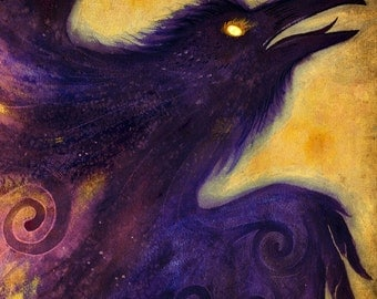 Fire in the Belly - Hello Crow Raven Celtic Goddess  God Spiral  Sunlight Gold  Purple and Dark...