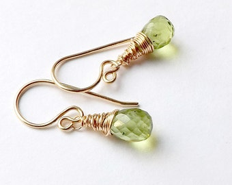 14k Gold Earrings Peridot Earring Wire Wrapped Drops Small Solid Gold Dangle Earrings Gift for Women, August Birthstone Jewelry
