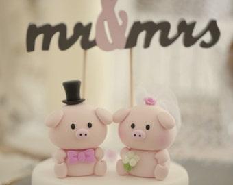 Pig, Piggy and Piglet bride and groom wedding cake topper---k717