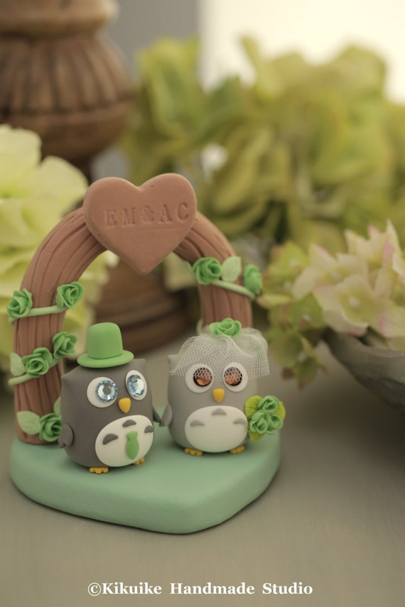 owls with flowers arch Wedding Cake Topper---k523