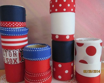 Red   White  and Blue  Ribbon Wardrobe    1.5Inches  7/8Inches  5/8Inches  3/8Inches 1/4 inch Prints and Plains 17 Yards