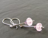 Pink Earrings, SRA Lampwork Glass & Sterling Silver Earrings, Handmade in the UK