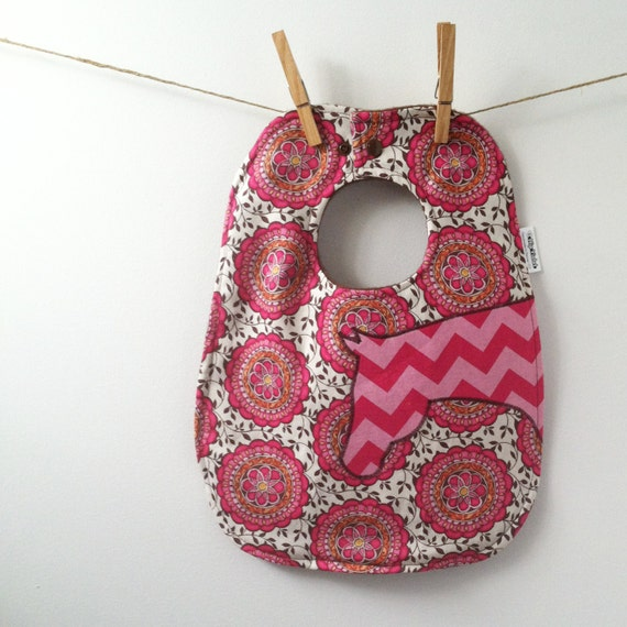 SALE - Horse Baby Gift - Pink Chevron Horse Baby Bib - Oversize with Snaps