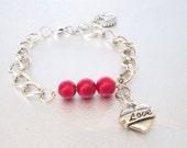 chain beaded bracelet coral beadwork bracelet silver bead jewelry charm bracelet