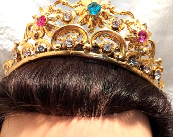 Antique Gilded Brass French Tiara Crown with Blue Pink Transparent Glass or Crystal Stones