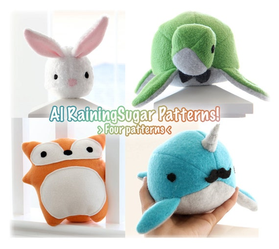 Easy Plush Toy Sewing Pattern And Tutorial Bundle Fleece