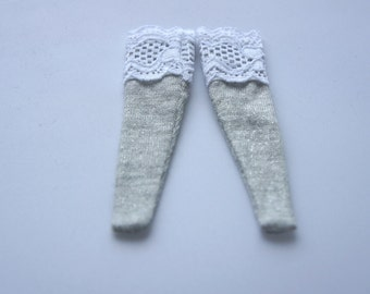 Blythe - Shiny Silver or Grey Socks with White Lace - BSOC-024