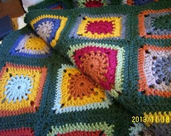 hand crochet granny square afghan