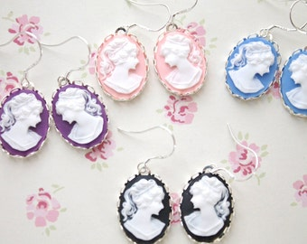 Sterling Silver Cameo Earrings - PICK Your Color