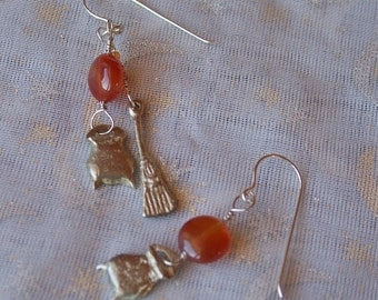Hearth Keeper Earrings in Sterling Silver with Carnelian Beads for the Kitchen Witch in Every Woman