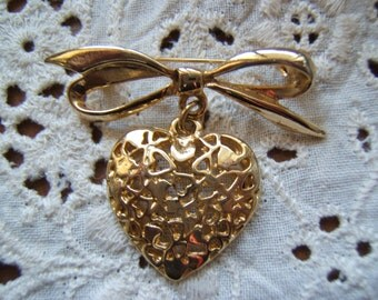 Bow with Dangling Heart Brooch SALE