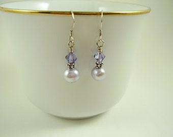Lavender Sweetness Freshwater Pearl Earrings, Lavender Swarovski Crystals and Freshwater Pearl Earrings,Swarovski Earrings,Lavender Earrings