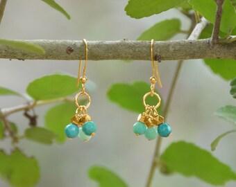 Gold Filled Triple Drop French Wire Earrings with Moss Opal, Cluster Drop, Opal Earrings, Opal Cluster, Gold French Wire, Handmade Earrings