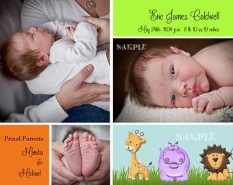 Photo Birth Announcement - Zoo Crew for Boy