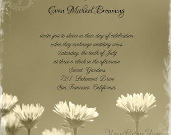 Sepia Daisy Wedding Invitation