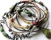 Handmade, Bangle Set of Ten, Vintage Trade Beads, Beach Glass, Bracelet set, Bangles, Hand Spun Silk, Cheldena