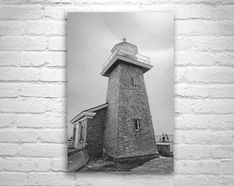 Santa Cruz Lighthouse, Surf Art, California Art, Black and White Lighthouses, California Coast
