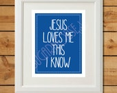 Jesus Loves Me - Printable Art - Blue Nursery Art