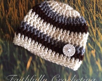 Newborn boy hat.. Button beanie... Photography prop.. Ready to ship