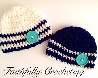 Newborn boy beanies.. Twin boys... Photography prop.. Ready to ship