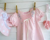 Upscaled Baby Dress and Hat, Pink, Smocked,6 to 12 months, Dots, Painted, Roses, Upscaled, Wedding, by enfantjoli on etsy