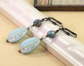 Baby Blue Earrings Gold Etching Light Blue Jewelry Gold Dangle Earrings Wedding Jewelry Prom Earrings Bridal Fashion Gunmetal Earrings